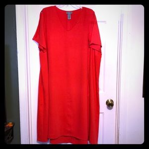 Catherines v neck A-line orangy red dress
